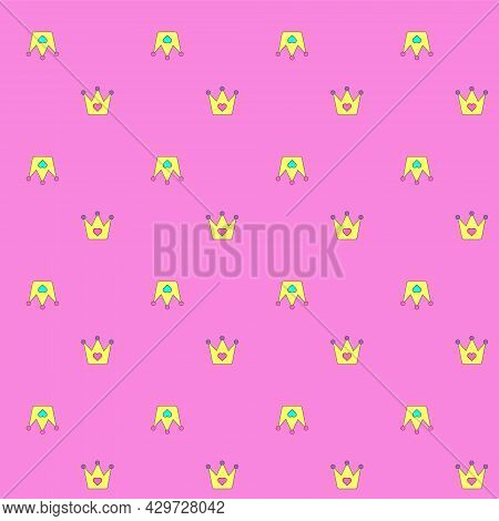 Girly Pattern With Pretty Crowns On The Pink Background