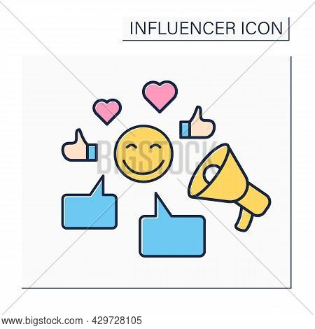 Influencer Color Icon.writing Posts On Web Sites.communication With Followers. Influence On Audience