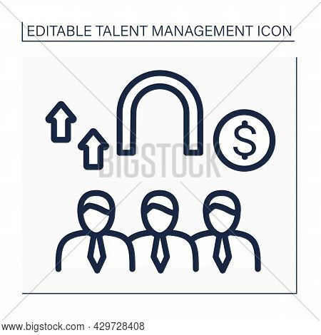 Employee Retention Line Icon. Actions To Keep Employees Motivated And Focused. Wage Growth. Fully Pr