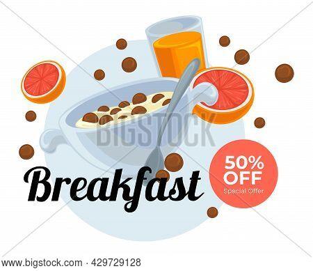 Cereals With Milk, Juice And Grapefruit Breakfast