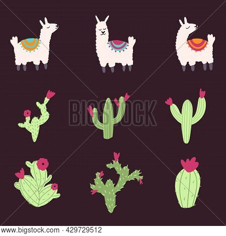 Set Of Vector Cute Lama And Cactus In Cartoon Hand Drawn Childish Style. Funny Animal Character For