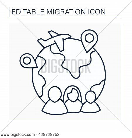 Family Migration Line Icon. Migrate Due To New Or Established Family Ties. Reunification With Family