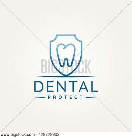 Dental Clinic With Tooth And Shield Protection Minimalist Line Art Logo Icon Template Vector Illustr