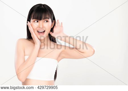 Beautiful Young Asian Woman With Clean Fresh Skin On White Background, Face Care, Facial Treatment,