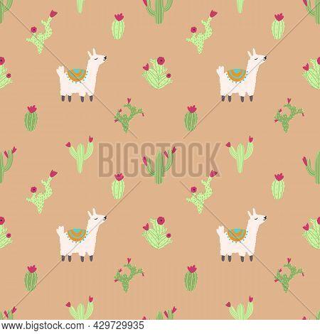 Lama Alpaca Seamless Pattern With Cactus. Vector Illustration Of Nursery Characters In Cartoon Hand