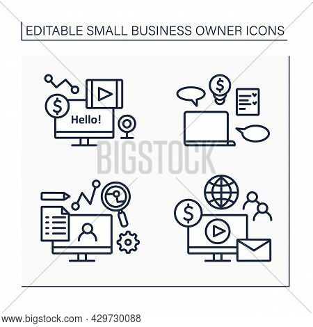 Small Business Owner Line Icons Set. Individual Entrepreneur.computer For Blogging. Coaching, Smm, E