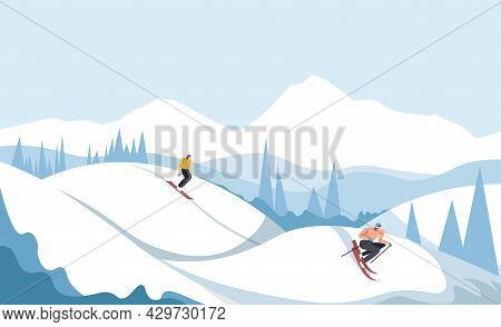Ski Resort, Snowboarding Skiing People On Slope