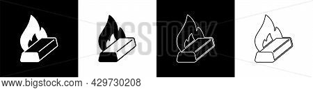 Set Molten Gold Being Poured Icon Isolated On Black And White Background. Molten Metal Poured From L