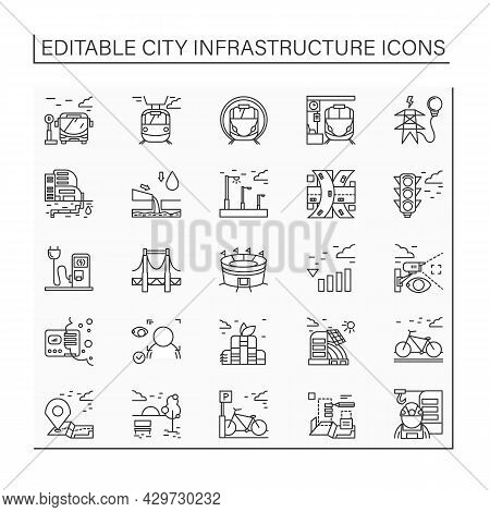 City Infrastructure Line Icons Set. Structures And Services That Act As Basis For City Life Economy