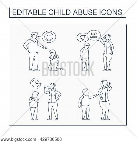 Child Abuse Line Icons Set. Constant Belittling, Criticism, Frequent Yelling, Ignoring. Crime Concep
