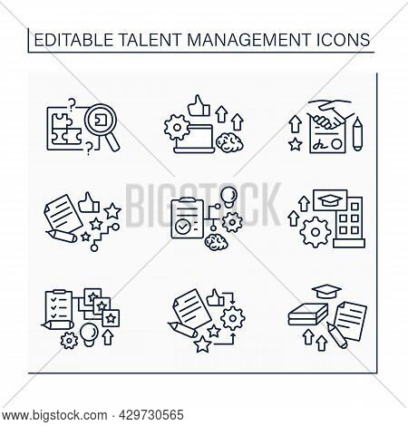 Talent Management Line Icons Set. Research New Employees. Self-improving. Improving Business Perform