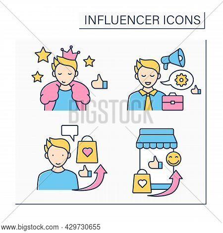 Influencer Color Icons Set. Mega Influencer, Marketplace, Advertising, Industry Expert. Blogging Con