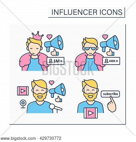 Influencer Color Icons Set. Share Information, Knowledge, Thoughts On Audiences. Influencer Advertis