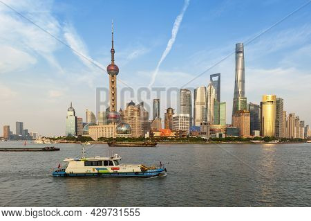 Shanghai, China - September 2019: Skyscrapers Over City Skyline Of Shanghai At The Financial And Bus