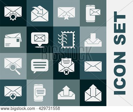 Set Outgoing Mail, Envelope, Download Inbox, With Star, Speech Bubble Envelope, Setting And Postal S