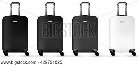 Suitcase White Background. Silver Plastic Luggage Or Vacation Baggage Bag Collection Isolated. Copy
