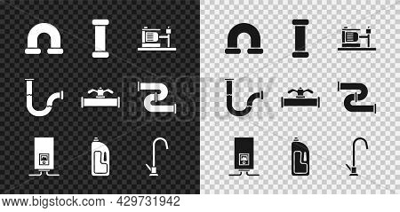 Set Industry Metallic Pipe, Electric Water Pump, Gas Boiler With Burning Fire, Container Drain Clean