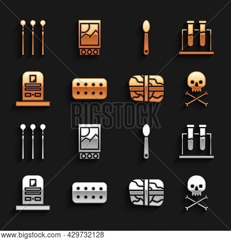 Set Pills In Blister Pack, Test Tube And Flask, Skull On Crossbones, Package With Cocaine, Tombstone