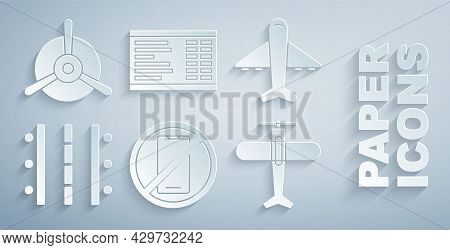 Set No Cell Phone, Plane, Airport Runway, Board And Propeller Icon. Vector
