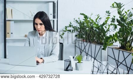 Dissatisfied Businesswoman Using Laptop In Modern Office.