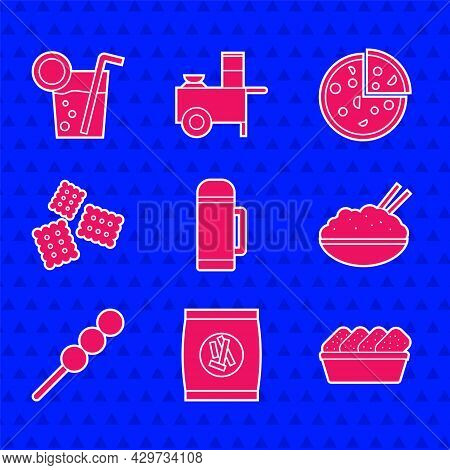 Set Thermos Container, Hard Bread Chucks Crackers, Chicken Nuggets Box, Rice Bowl With Chopstick, Me