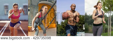 Workout Indoors Or Outdoors. Collage About Fit Men And Women At Fitness Training Outdoors. Sport, Tr