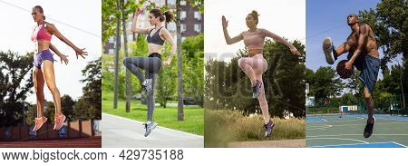 Active Lifestyle In Any Seasons. Collage About Fit Men And Women At Fitness Training Outdoors. Sport