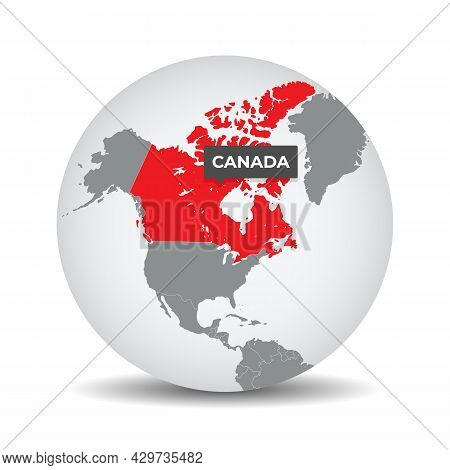 World Globe Map With The Identication Of Canada. Map Of Canada. Canada On Grey Political 3d Globe. E