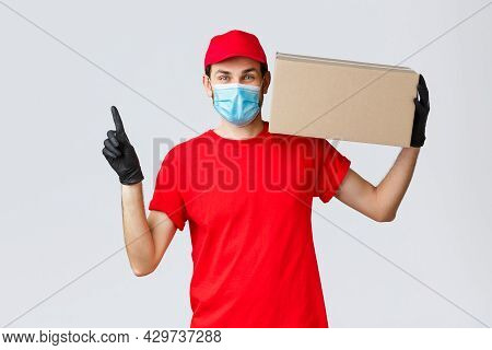 Packages And Parcels Delivery, Covid-19 Quarantine Delivery, Transfer Orders. Cheerful Courier In Fa