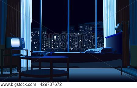 Illustration Depicting The Interior Of A Bedroom And A Window With A View Of The Night City For Deco