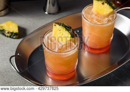 Boozy Refreshing Rum Swizzle Cocktail
