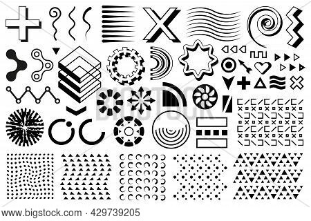 Vector Memphis Set, Group Of Modern Geometric Shapes. Collection Of Black Flat Forms And Figures.