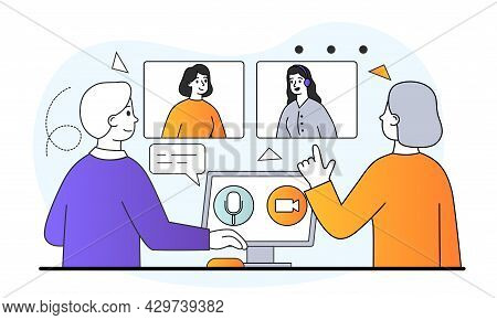 Male And Female Characters Connecting With Other People Online Together. Concept Of Learning Or Meet