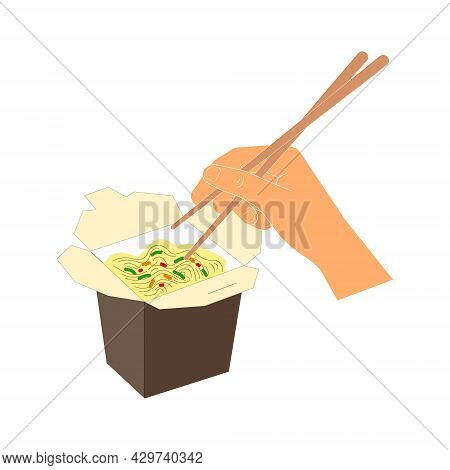 Vector Illustration With Wok Noodles In Brown Box And Hand Holding Chinese Chopsticks. Printable Art