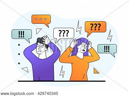 Sad Young Male And Female Characters Are Covering Ears With Hands To Stop Information Noise. Concept