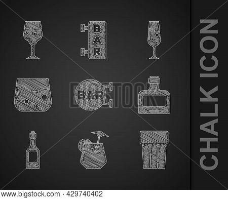 Set Street Signboard With Bar, Cocktail, Glass Water, Whiskey Bottle, Champagne, Of Whiskey, Champag