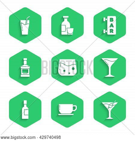 Set Glass Of Whiskey, Coffee Cup, Martini Glass, Champagne Bottle, Whiskey, Street Signboard With Ba