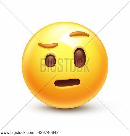 Skeptical Emoticon, Distrust Facial Expression 3d Stylized Vector Icon