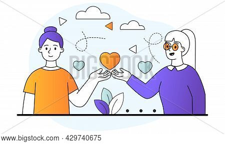 Sincere Grateful Smiling Female Characters Are Saying Thank You. Two Women Are Holding A Heart On Th