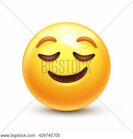 Relieved Emoticon, Peaceful Face With Closed Eyes And Happy Smile 3d Stylized Vector Icon