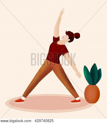 Girl Is Doing Exercises  On The Rug. Active Happy Sports Life Of Modern Woman. Flat Illustration. A