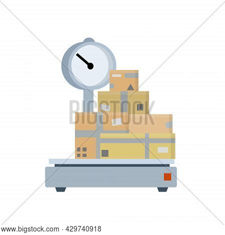 Box Is On Scale. Weighing Of Cargo And Parcels. Industrial Device With Platform For Heavy Loads. Log