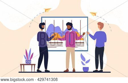 Male Business Coworkers Are Working Together As A Team In Office. Concept Of Coworking And Problem S