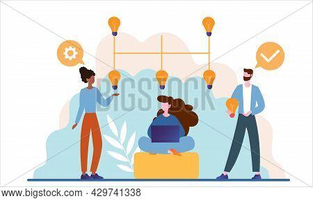 Male And Female Business Characters Working Together As A Team In Office. Concept Of Partnership, Co