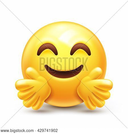 Emoticon Giving A Hug. Happy Yellow Face With Open Hands And Smiling Eyes 3d Stylized Vector Icon