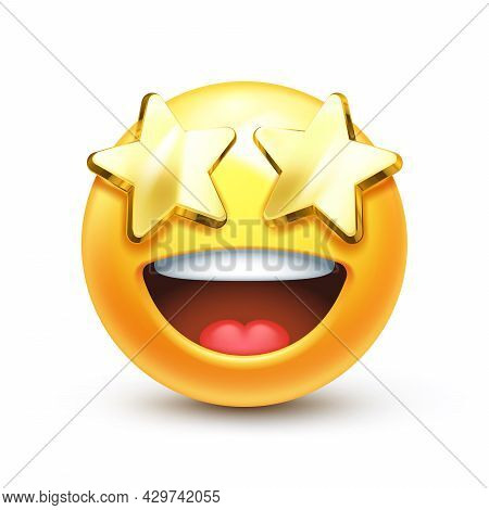 Golden Stars For Eyes Excited Emoticon With Open Smile 3d Stylized Vector Icon