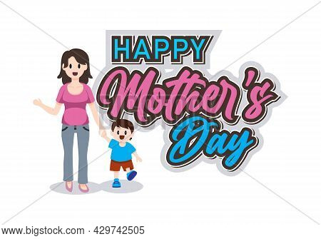 Happy Mothers Day Text, Happy Mothers Day Vector Design Illustration For Template, Business, Website
