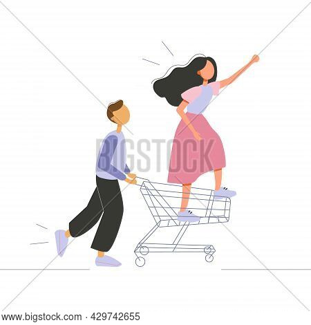 Vector Illustration Of Young Man Pushing The Shopping Cart With Young Woman Going Shopping. Shopping