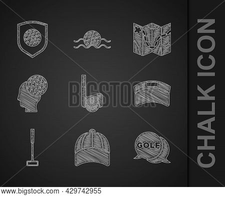 Set Golf Club With Ball, Baseball Cap, Label, Sun Visor, Course Layout And Shield Icon. Vector
