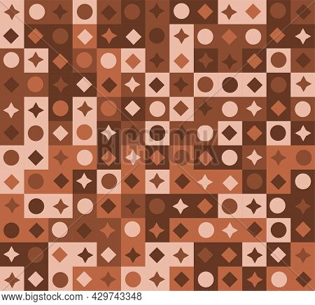Abstract Geometric Pastel Brown Seamless Pattern. Concept Of Generative Computational Art Template F